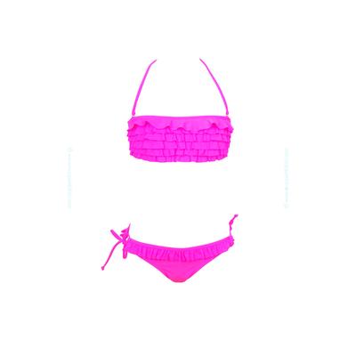 Traje de baño de dos piezas para niñas tipo bandeau con frufrús rosa fluo