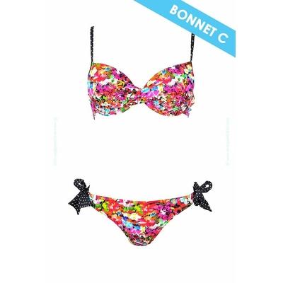 Maillot de bain deux pièces bonnet C Lolita Angels - Maillot balconnet imprimé fleuri noir multicolore Lily Rose
