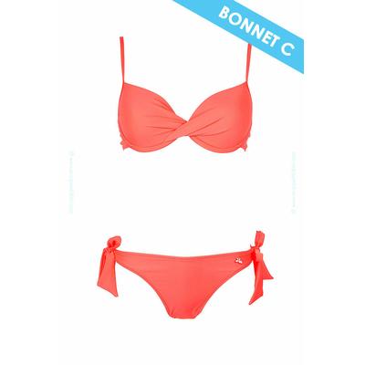 Traje de baño de 2 piezas copa C Lolita Angels - Tipo balconnet coral fluo Unicool