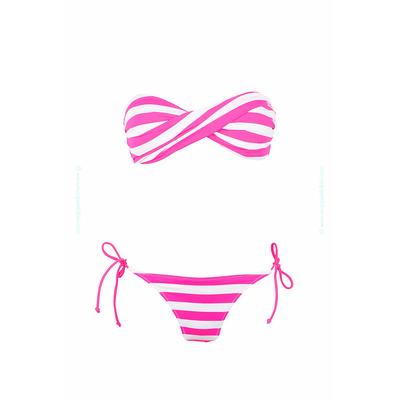 Conjunto de traje de baño de 2 piezas Lolita Angels - Tipo bandeau twist con rayas rosa fluo y blanco Fun