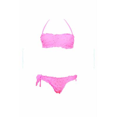 Traje de baño de dos piezas para niñas tipo bandeau rosa