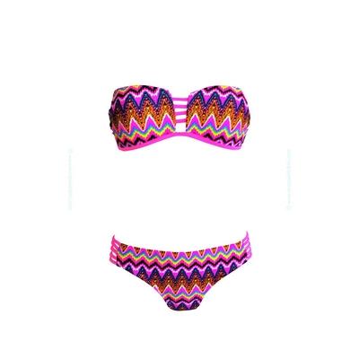 Bikini bandeau con estampado multicolor arco iris