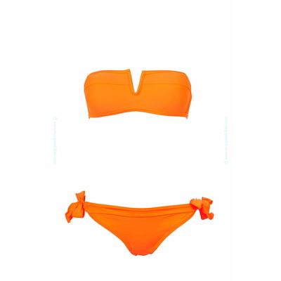 Bikini bandeau naranja coral con escote en V