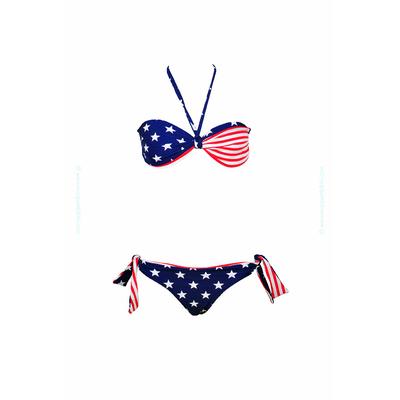 Traje de baño de dos piezas para niñas tipo bandeau twiste estampado USA