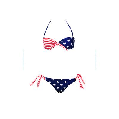Traje de baño de dos piezas para niñas tipo bandeau twist con nudos y estampado de USA