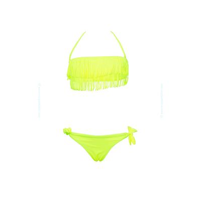 Traje de baño de dos piezas para niñas amarillo fluo tipo bandeau con flecos