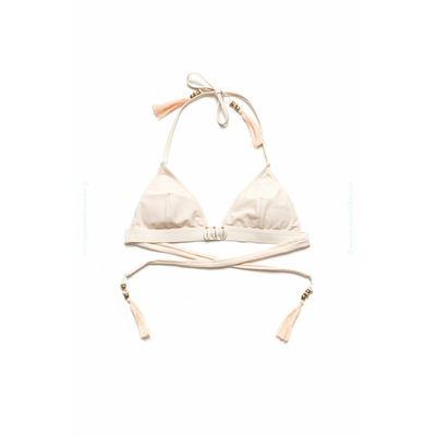 Top de traje de baño Amenapih by Hipanema - Bikini triangular Beauty blanco crema
