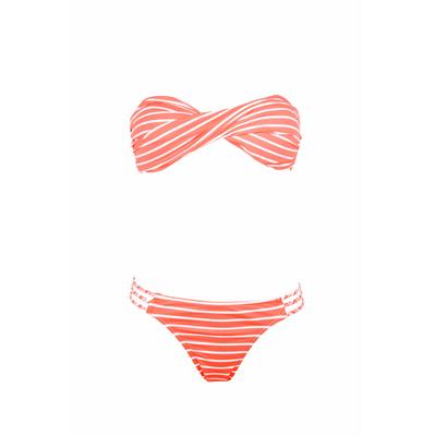 Bikini de dos piezas  bandeau con rayas coral fluo Little Fun
