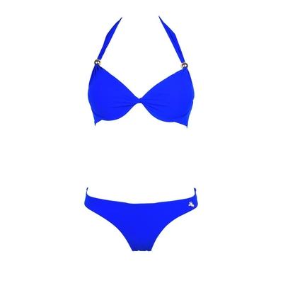 Conjunto de traje de baño de 2 piezas tipo push-up con drapeado Unicool azul
