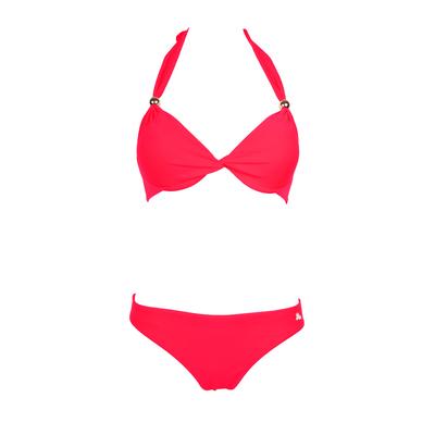 Conjunto de traje de baño de 2 piezas tipo push-up con drapeado Unicool rojo fluo