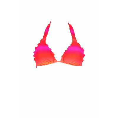 Top de traje de baño triángulo con frufrús degradado rosa Miami