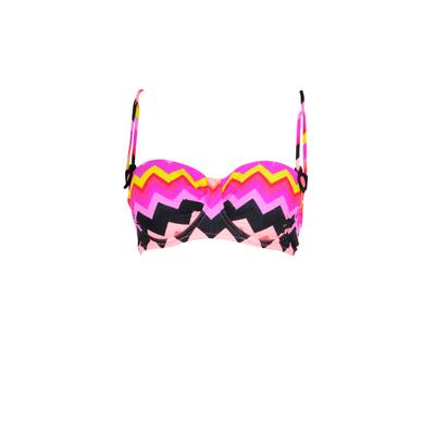 Top de traje de baño con sujeción estampado geométrico multicolor Soundwave