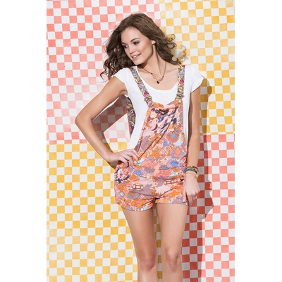 Monoshort Connemara estampado naranja multicolor