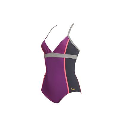 Skidrumo - Bañador adelgazante violeta para piscina Laure Manaudou