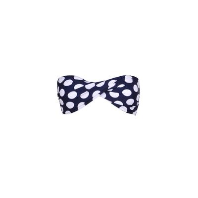 Mon Twist Bikini - Top de traje de baño banda twist azul marino Lunares blancos