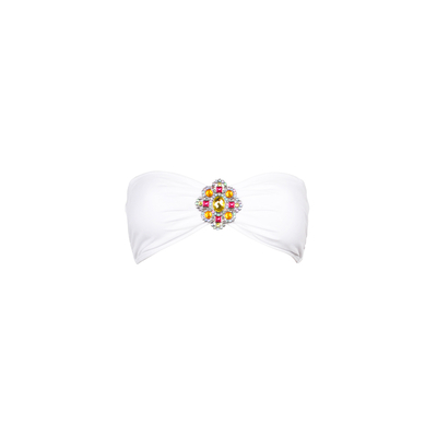 Mon Bandeau con joya blanco - Traje de baño banda (top)