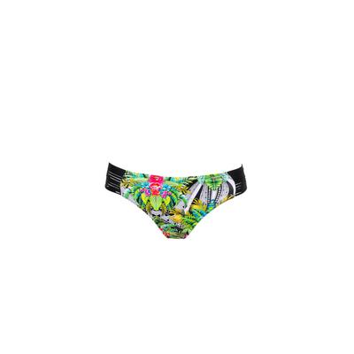 Traje de bano brasileño braga verde tropical (bajo)