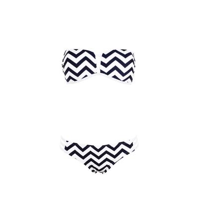 Biquíni banda dos piezas azul marino y blanco