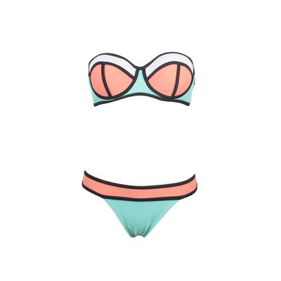 Bikini dos piezas balconnet neopreno azul neón