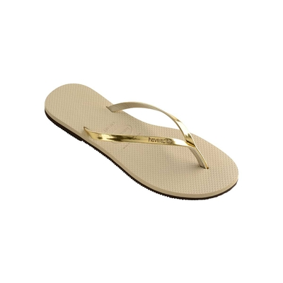 Chanclas beige arena You Metallic
