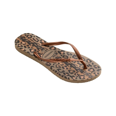 Chanclas doradas con estampado leopardo Slim Animals