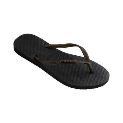 Chanclas negras Slim Logo Metallic