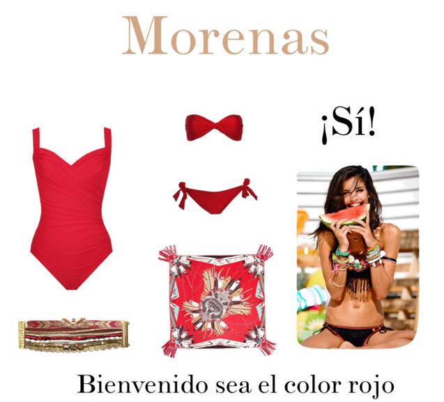 Baño Color Rojo Pelo: Suit , fular Hipanema , brazalete Hipanema , bikini Dag Adom rojo