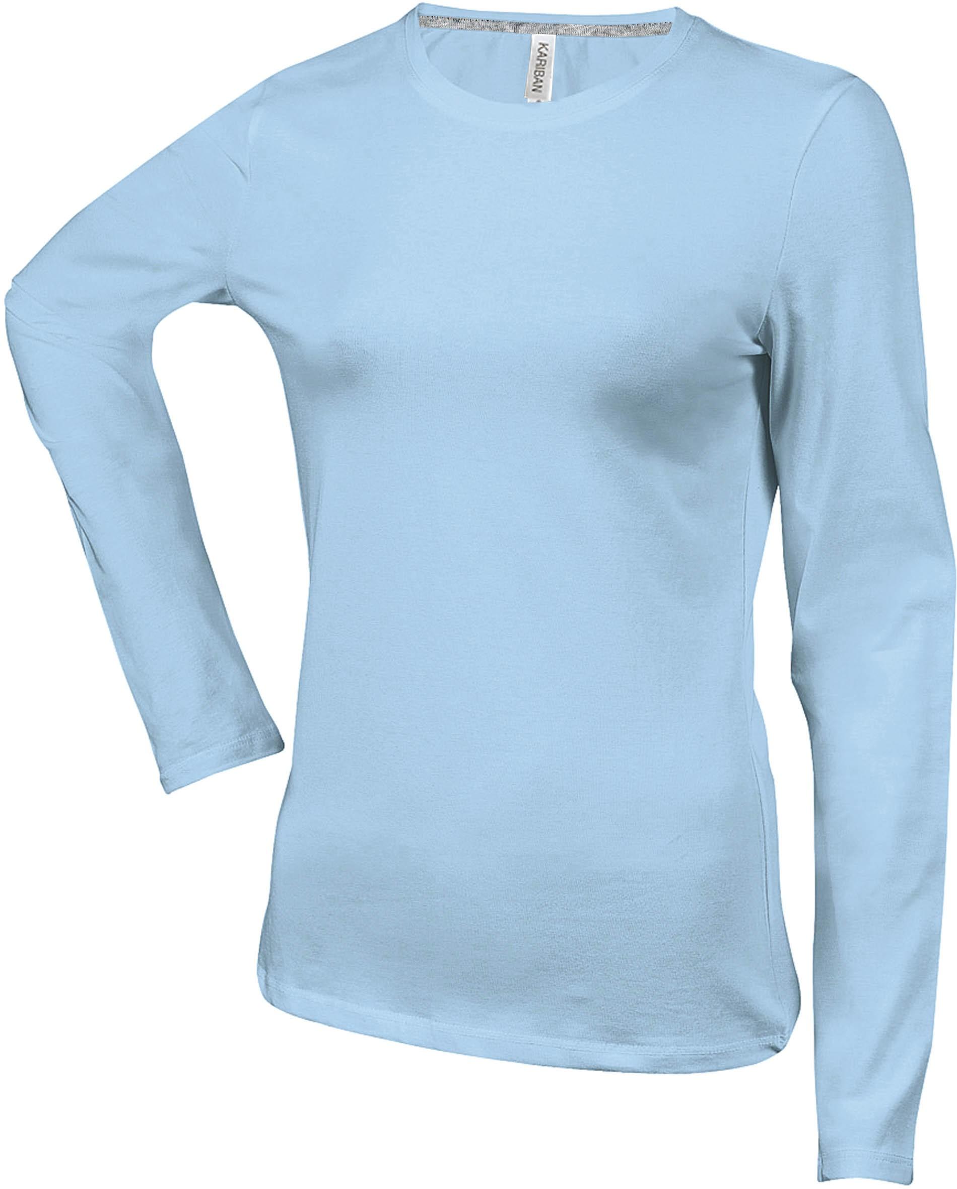 285c10dfd08fb Tee shirt uni en coton - Manches longues - Femme - Bleu Ciel -K383