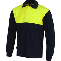 Polo Marine / Jaune Fluo - Manches longues - C3842