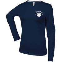 Tee shirt uni en coton - Manches longues - Femme - K383