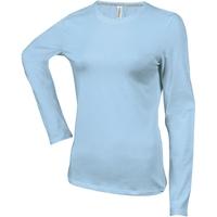 Tee shirt uni en coton - Manches longues - Femme - Bleu Ciel -K383