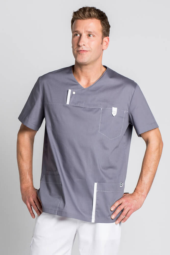 Blouse Medicale Moderne Look Grise Pour Homme Tuniques Medicales