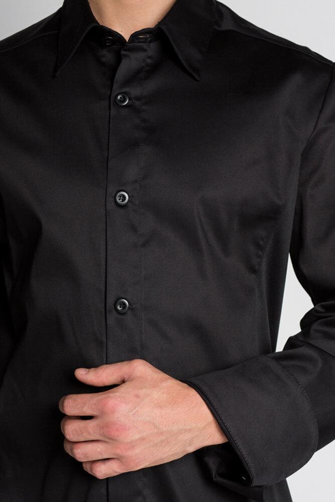 Veste Chemise De Cuisine Noire Confort Stretch Chef Look Mylookpro