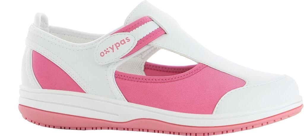 28b7e3d124b Chaussure médicale blanche et rose SRC antistatique en lycra Oxypas