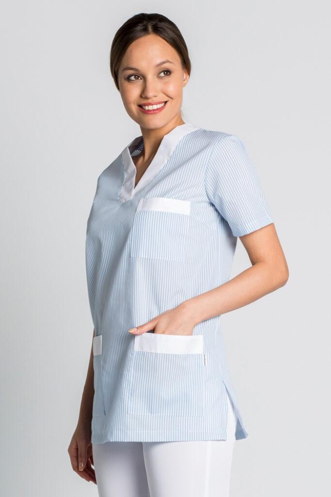 tunique de travail femme bleu et blanc blouses m dicales. Black Bedroom Furniture Sets. Home Design Ideas