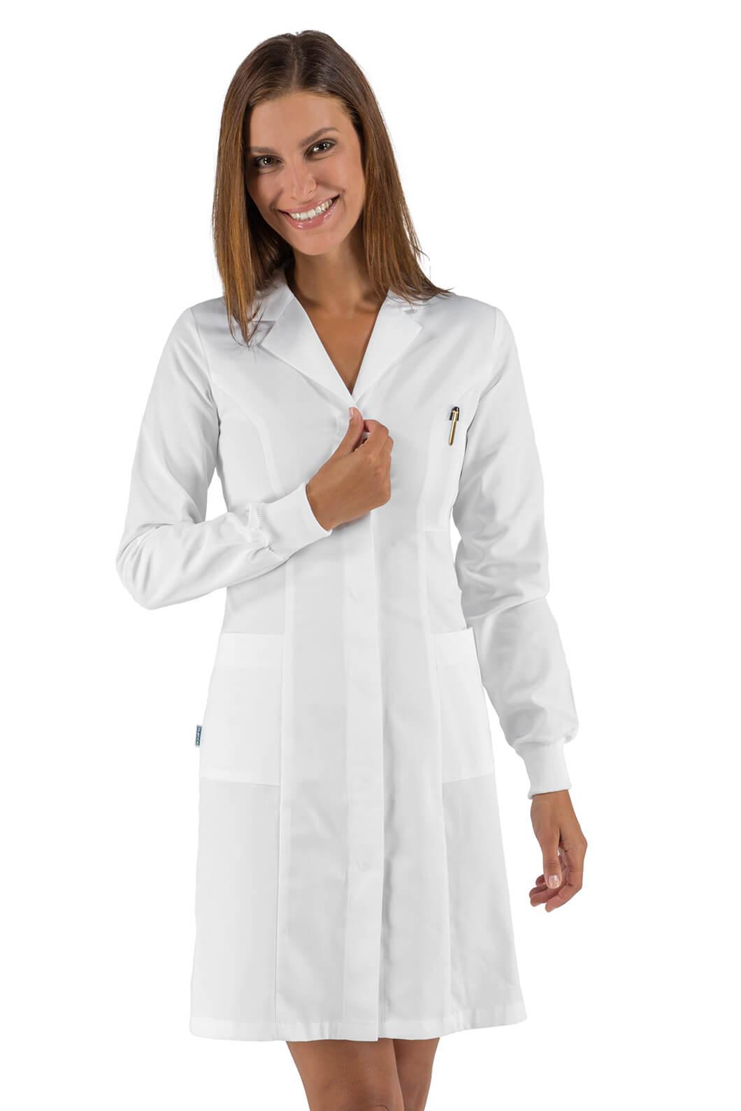 Blouse médicale femme blanc à poignets tricots forme slim Isacco