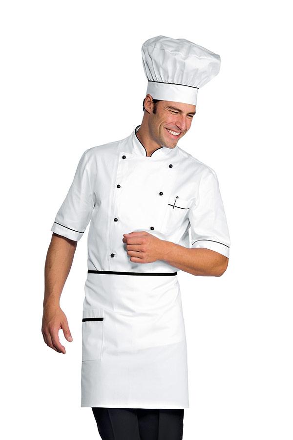 veste chef cuisinier alicante blanc noir 100 coton. Black Bedroom Furniture Sets. Home Design Ideas