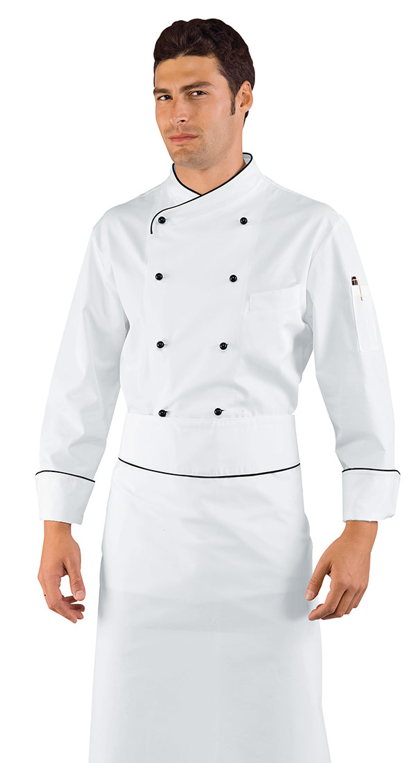 Veste chef cuisinier pechino blanc liser noir 100 coton for Vetements cuisine