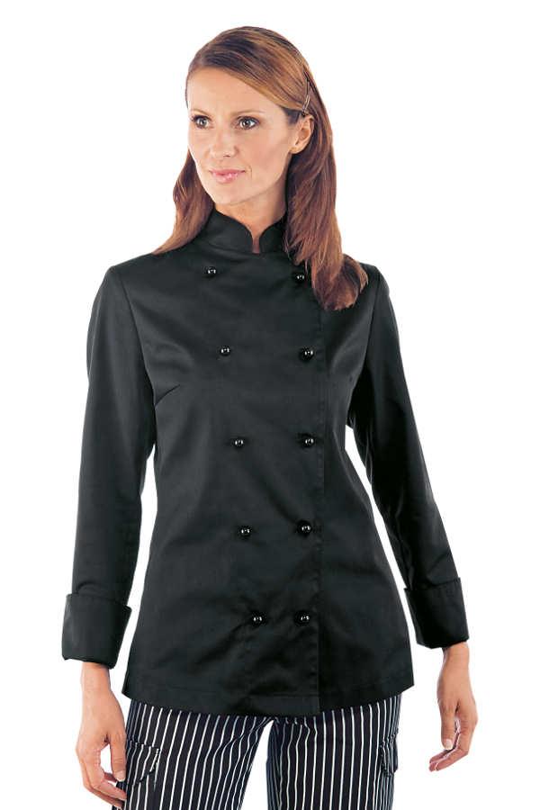 Veste de cuisine noire pour femme