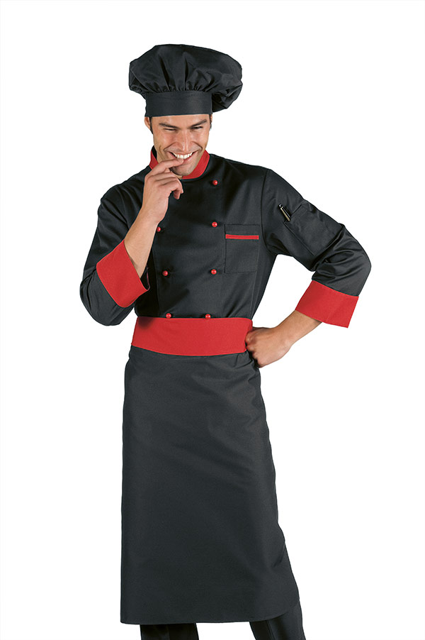 Veste chef cuisinier noir et rouge for Cuisinier 49
