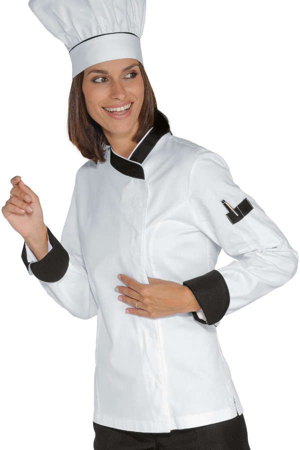Veste chef femme snaps blanc noir 100 coton for Vetements cuisine