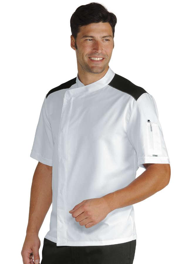 Veste de cuisinier malaga blanc noir 100 coton - Tenue de cuisine pas cher ...