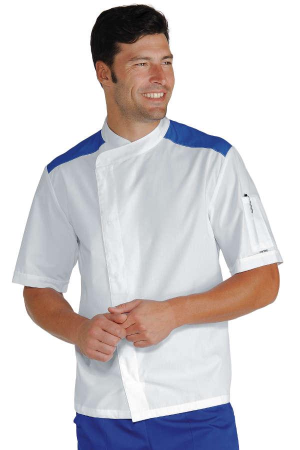 Veste de cuisinier malaga blanc bleu cyan 100 coton for Cuisinier xviii