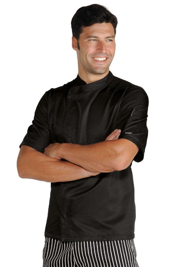 Veste de cuisinier malaga noir microfibres - Tenue de cuisine pas cher ...