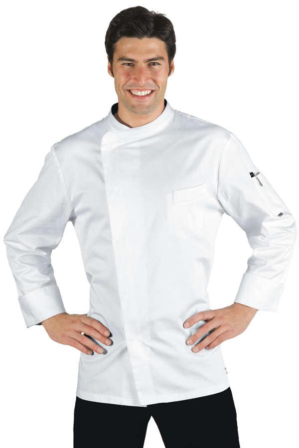 Veste chef cuisinier bilbao satin blanc 100 coton for Cuisinier 49