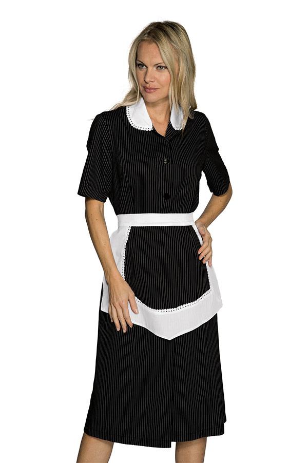 blouse femme de chambre manches courtes et tablier noir et blanc blouse de travail blouse de. Black Bedroom Furniture Sets. Home Design Ideas