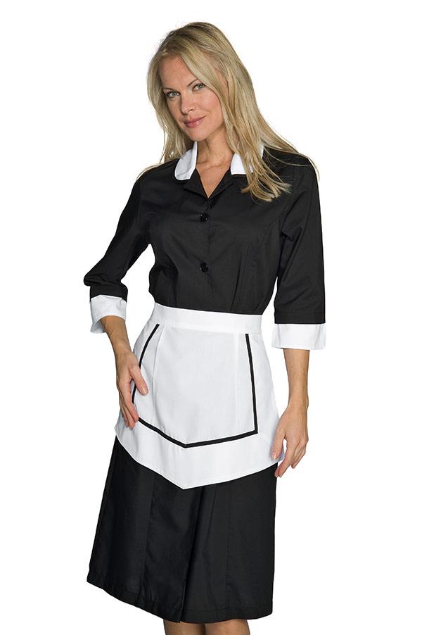 ensemble femme de chambre blouse et tablier noir et blanc. Black Bedroom Furniture Sets. Home Design Ideas