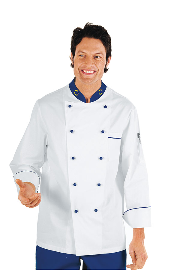 veste chef cuisinier 4xl euro blanc bleu cyan 100 coton vestes de cuisine veste de cuisine. Black Bedroom Furniture Sets. Home Design Ideas