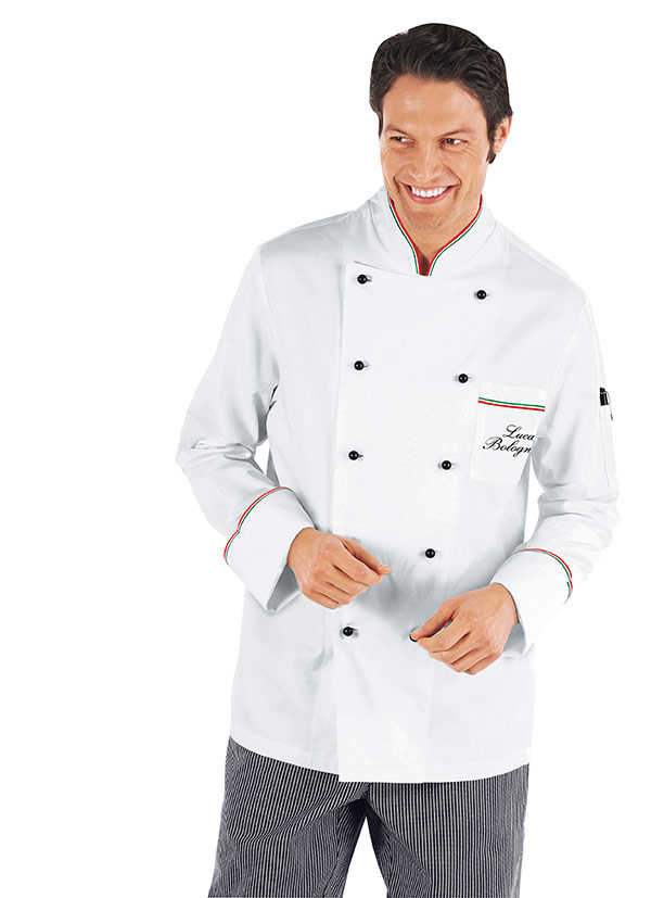 veste chef cuisinier prestige 5xl blanc liser tricolore 100 coton v tements de cuisine. Black Bedroom Furniture Sets. Home Design Ideas
