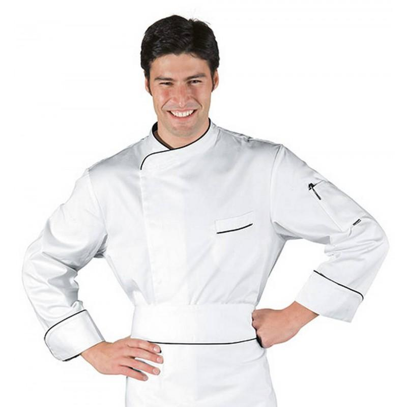 Veste chef cuisinier bilbao blanc noir 100 coton - What is a chef de cuisine job description ...
